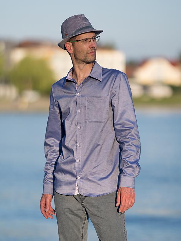 Valerio Hemdkragen 50 glänzend blau mit rosa kragen und manschette