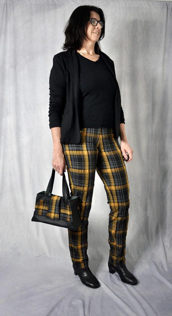 Gianna 42 Gelb Schwarz mit Handtasche