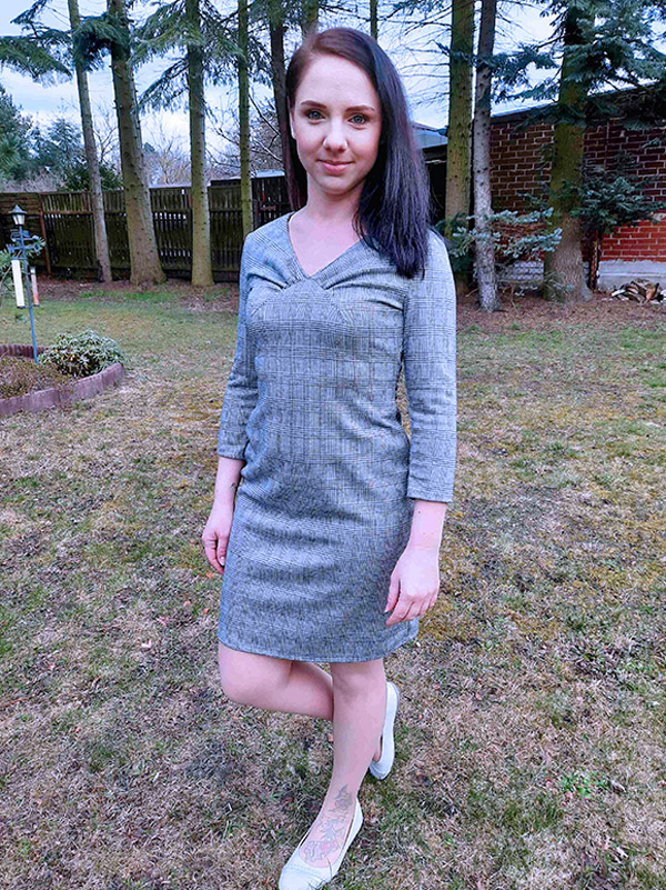 Yelda 36 Kleid Langarm Karriert