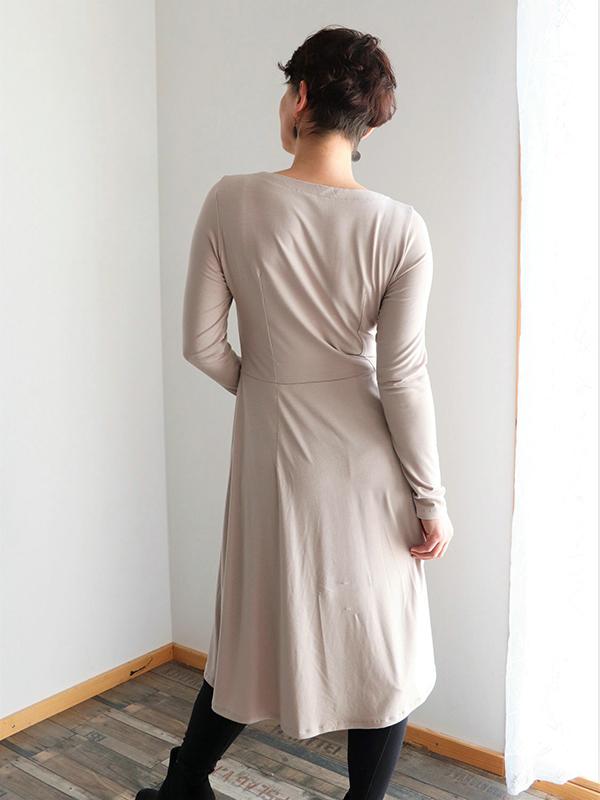 Yelda 38 Kleid Ausgestellt Langarm Ruecken