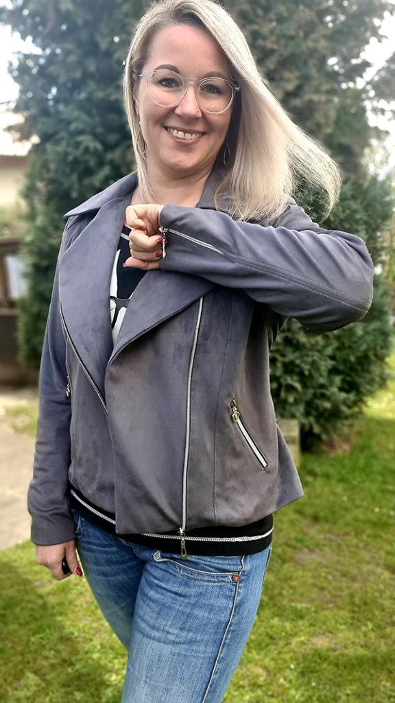 Lola 40 Grau Schmaler Revers Umlegekragen